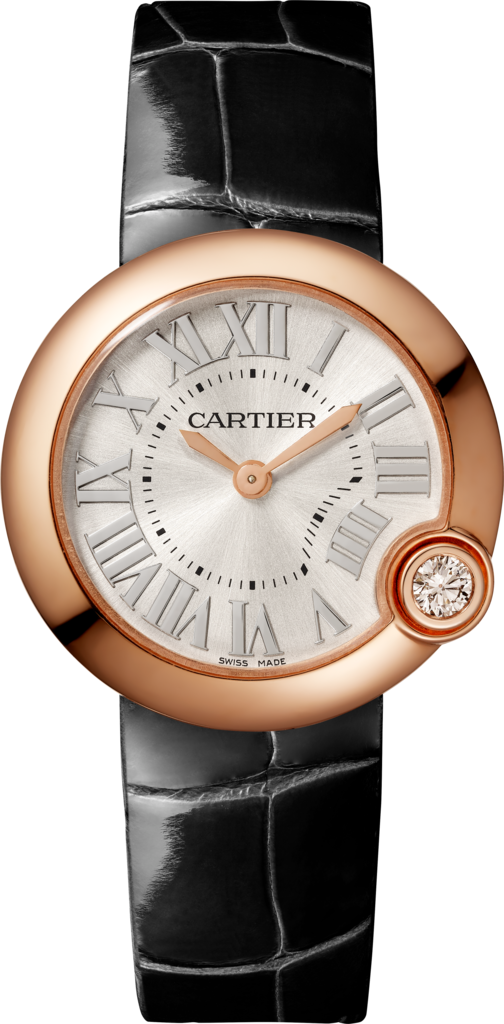 Ballon Blanc de Cartier watch30 mm, pink gold, diamond, leather