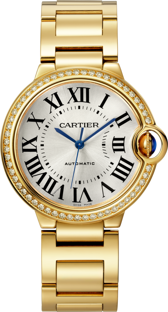 Ballon Bleu de Cartier watch36 mm, yellow gold, diamonds