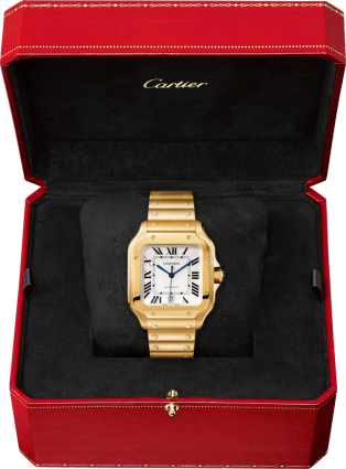 Santos de Cartier watch Large model, automatic movement, yellow gold, interchangeable metal and leather bracelets