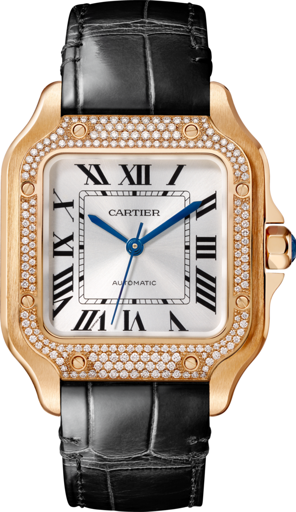 Santos de Cartier watchMedium model, automatic, pink gold, diamonds, 2 interchangeable leather bracelets