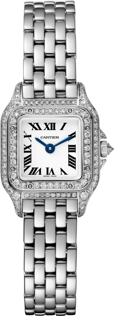Panthère de Cartier watchMini, rhodiumized white gold