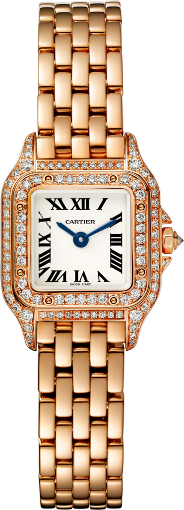 Panthère de Cartier watchMini model, quartz movement, pink gold, diamonds