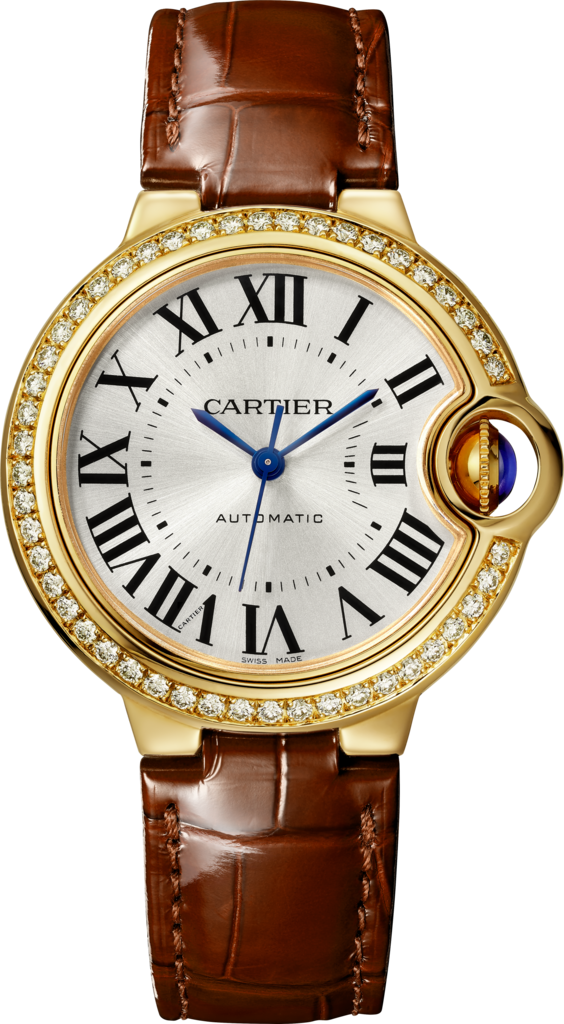Ballon Bleu de Cartier watch33 mm, yellow gold, diamonds, leather