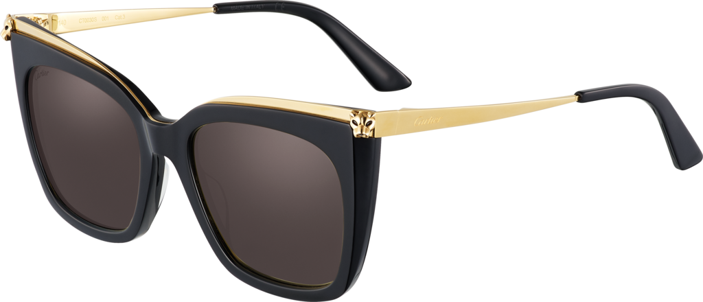 Panthère de Cartier sunglassesCombined black composite and smooth golden-finish metal, gray lenses.