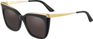 Panthère de Cartier sunglasses Combined black composite and smooth golden-finish metal, gray lenses.