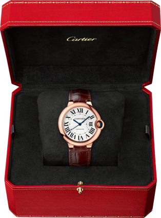 Ballon Bleu de Cartier watch 36mm, automatic movement, pink gold, leather