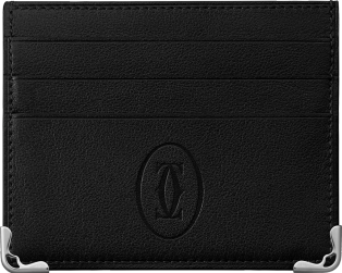 Simple 6-Credit Card Holder, Must de Cartier Black calfskin, stainless steel finish
