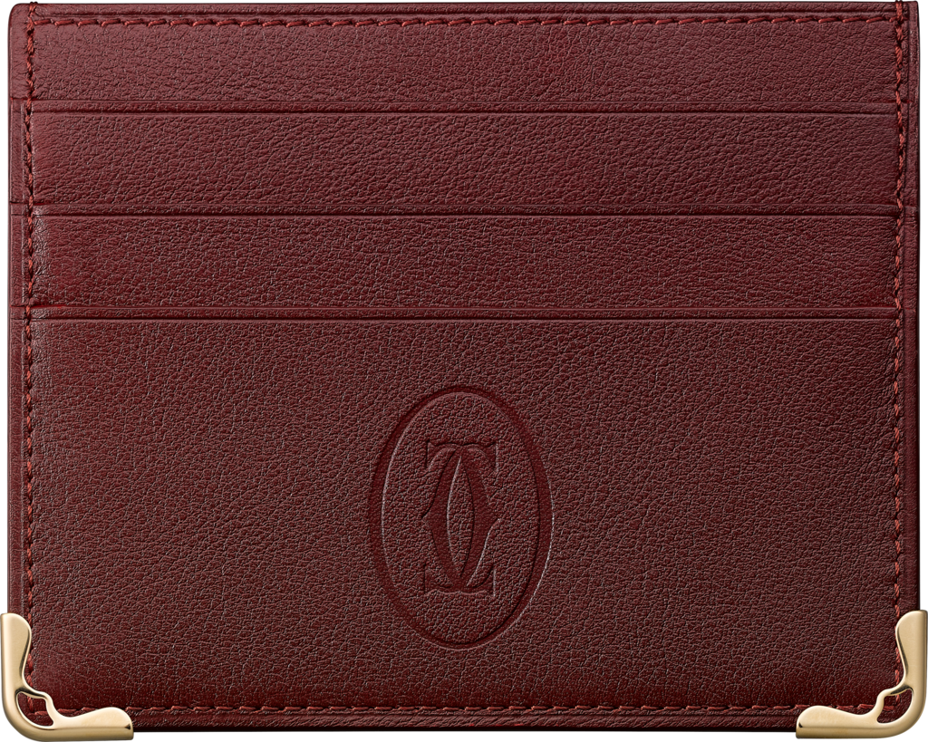 Must de Cartier Small Leather Goods, 6-credit card walletBurgundy calfskin, golden finish