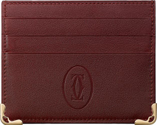 Must de Cartier Small Leather Goods, 6-credit card wallet Burgundy calfskin, golden finish