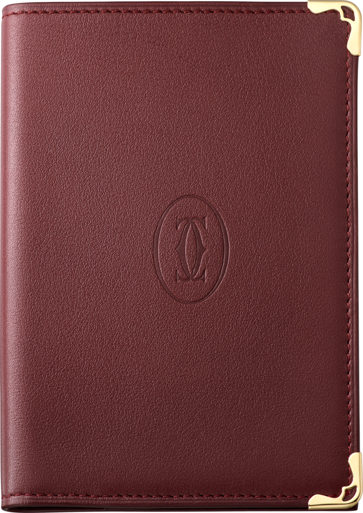 Must de Cartier Small Leather Goods, passport holderBurgundy calfskin, golden finish
