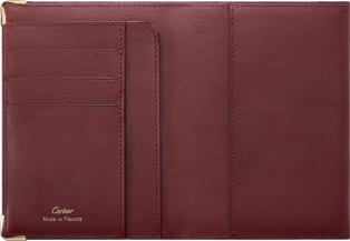 Must de Cartier Small Leather Goods, passport holder Burgundy calfskin, golden finish