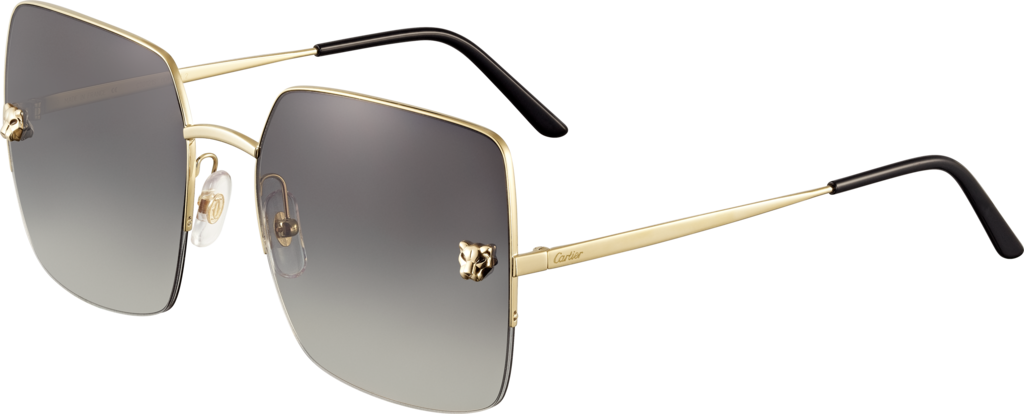 Panthère de Cartier sunglassesChampagne golden-finish metal, graded gray lenses with a golden flash effect