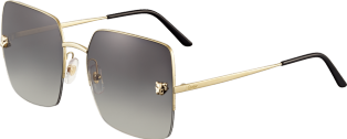 Panthère de Cartier sunglasses Champagne golden-finish metal, graded gray lenses with a golden flash effect