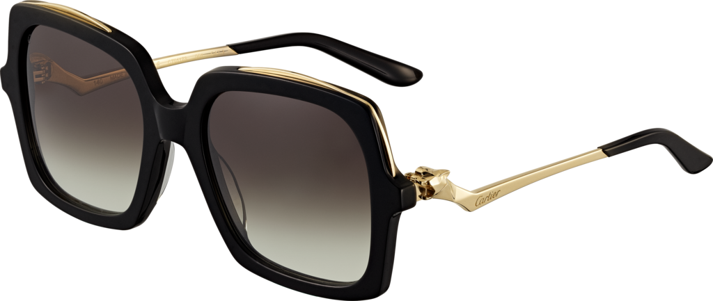 Panthère de Cartier sunglassesBlack composite, champagne golden-finish metal, graded gray lenses