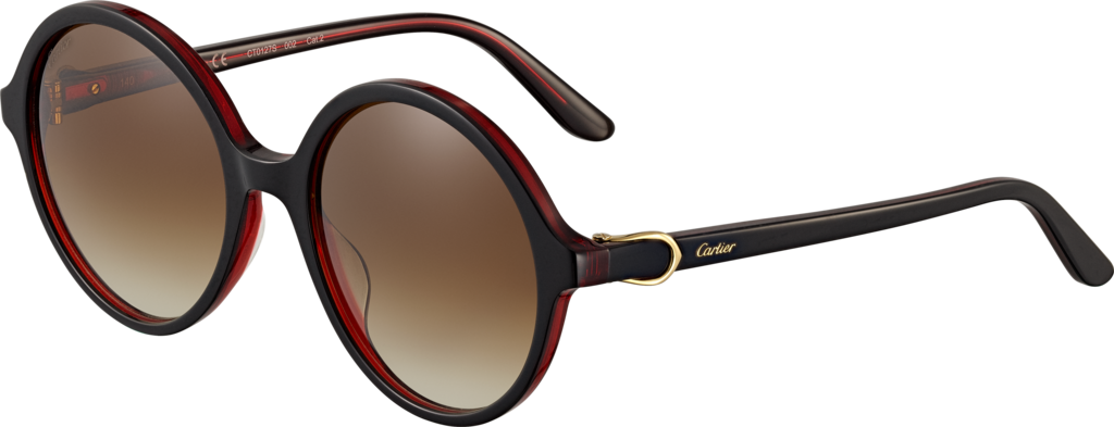 C Décor sunglassesTwo-tone black and red composite, champagne golden finish, graded brown lenses