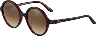 C Décor sunglasses Two-tone black and red composite, champagne golden finish, graded brown lenses