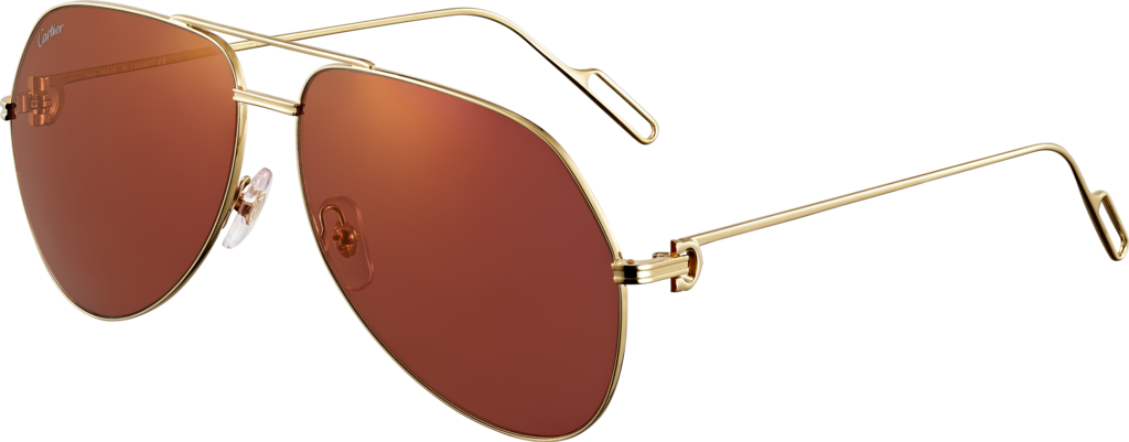 Première de Cartier sunglassesChampagne golden-finish metal, burgundy lenses with golden flash