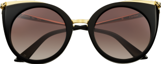 Panthère de Cartier sunglasses Black composite, champagne golden-finish metal, graded brown lenses
