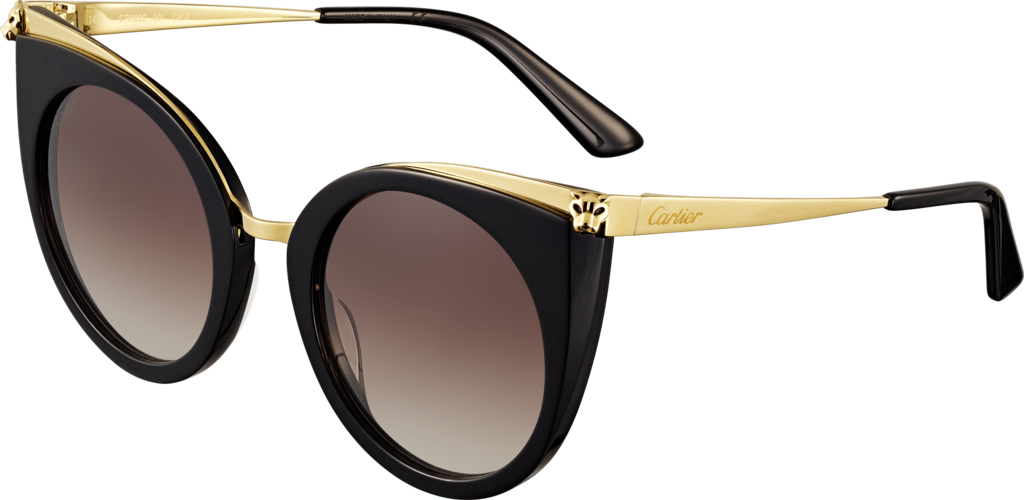 Panthère de Cartier sunglassesBlack composite, champagne golden-finish metal, graded brown lenses