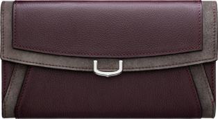 Small Leather Goods C de Cartier, international wallet Rhodolite garnet taurillon leather with contrasting bands, palladium finish