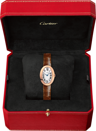 Mini Baignoire watch Mini model, quartz movement, pink gold, leather