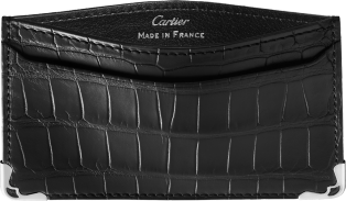 Must de Cartier Small Leather Goods, simple card holder Black alligator skin, stainless steel finish