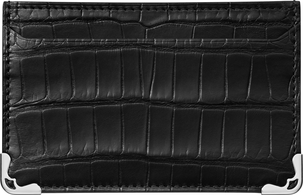 Must de Cartier Small Leather Goods, simple card holderBlack alligator skin, stainless steel finish