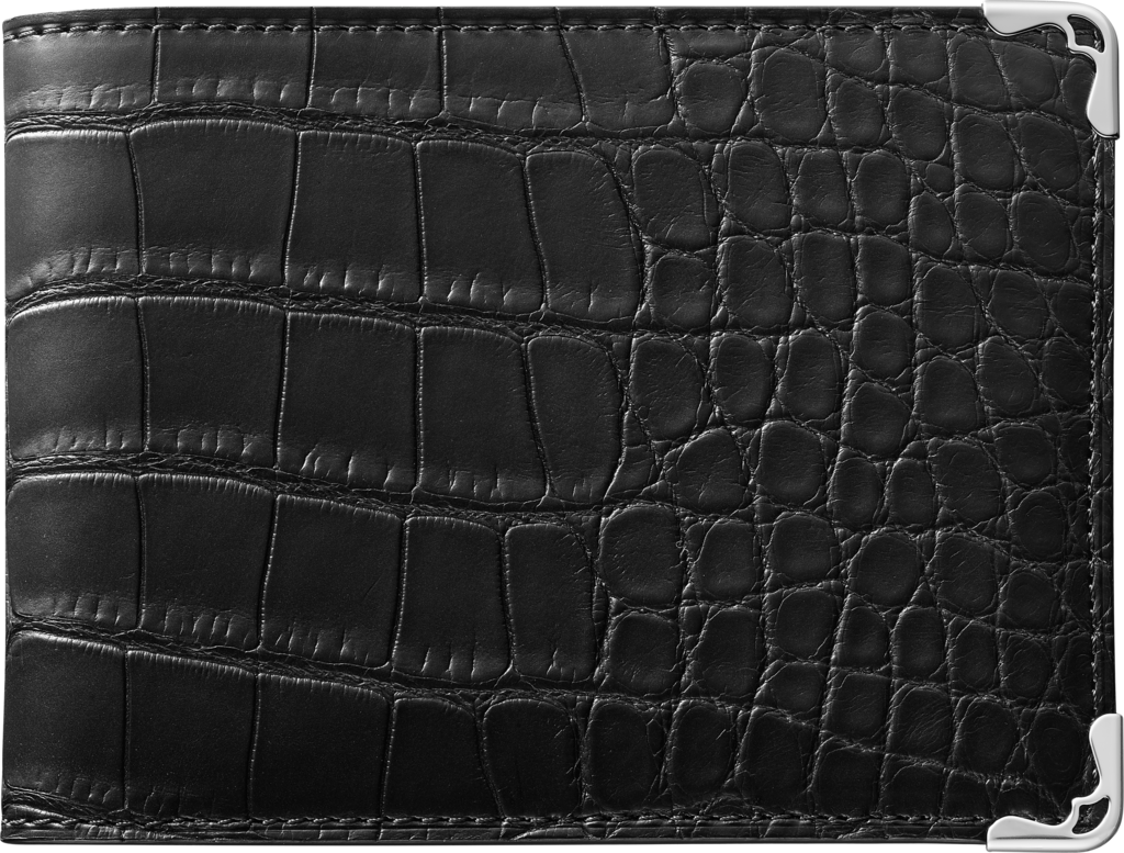Must de Cartier Small Leather Goods, 6-credit card walletBlack alligator skin, stainless steel finish