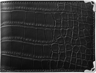 Must de Cartier Small Leather Goods, 6-credit card wallet Black alligator skin, stainless steel finish