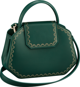 Guirlande de Cartier bag, mini model Green calfskin, golden finish