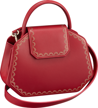 Top Handle Bag, Mini, Guirlande de Cartier Red calfskin, golden finish