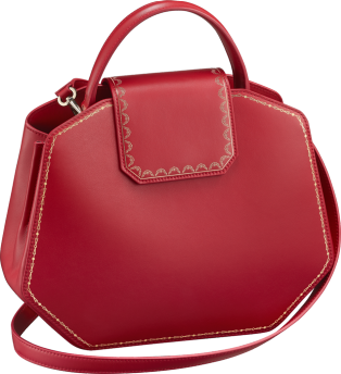Top Handle Bag, Small, Guirlande de Cartier Red calfskin, golden finish
