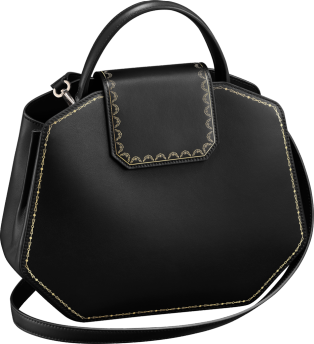 Guirlande de Cartier bag, small model Black calfskin, golden finish