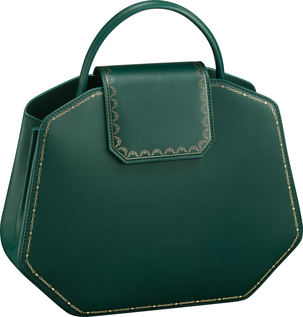 Guirlande de Cartier bag, small modelGreen calfskin, golden finish