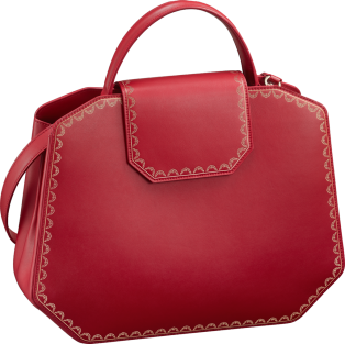 Top Handle Bag, Medium, Guirlande de Cartier Red calfskin, golden finish