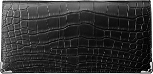Zipped International Wallet, Must de Cartier Black alligator skin, stainless steel finish