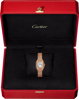 Panthère de Cartier watch Mini model, quartz movement, pink gold, diamonds