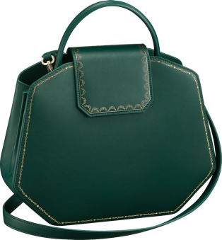 Guirlande de Cartier bag, small model Green calfskin, golden finish