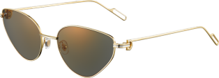Première de Cartier sunglasses Smooth champagne golden-finish metal, gray lenses with golden flash