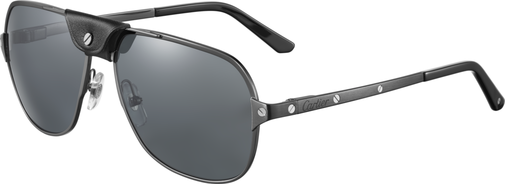 Santos de Cartier sunglassesBrushed black PVD-finish metal, gray polarized lenses