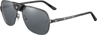 Santos de Cartier sunglasses Brushed black PVD-finish metal, gray polarized lenses