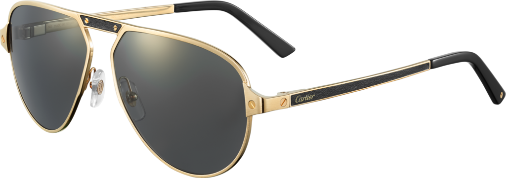 Santos de Cartier sunglassesBrushed champagne golden-finish metal, gray polarized lenses with golden flash