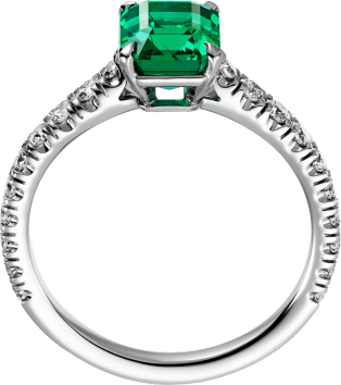 Solitaire 1895 Platinum, emerald, diamonds