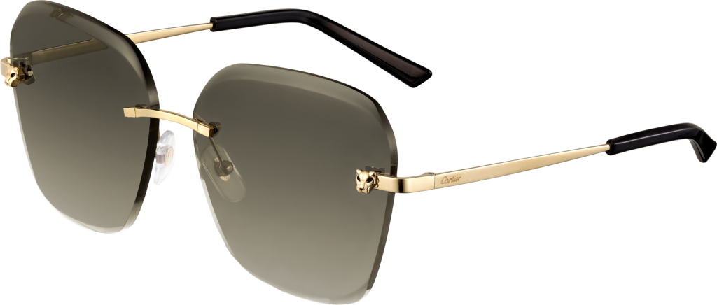 Panthère de Cartier sunglassesChampagne golden-finish metal, graduated brown lenses