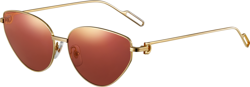 Première de Cartier sunglassesSmooth champagne golden-finish metal, cyclamen lenses with golden flash