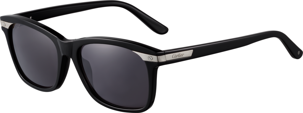 Santos de Cartier sunglassesBlack composite and brushed platinum-finish metal, gray lenses