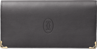 Zipped International Wallet, Must de Cartier Dark gray calfskin, golden finish