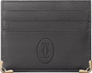 Must de Cartier 6-credit card holder Dark gray calfskin, golden finish