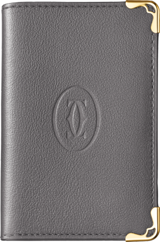 Must de Cartier Small Leather Goods, 4-credit card wallet Dark gray calfskin, gold finish