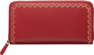Guirlande de Cartier Small Leather Goods, international wallet Red calfskin, golden finish